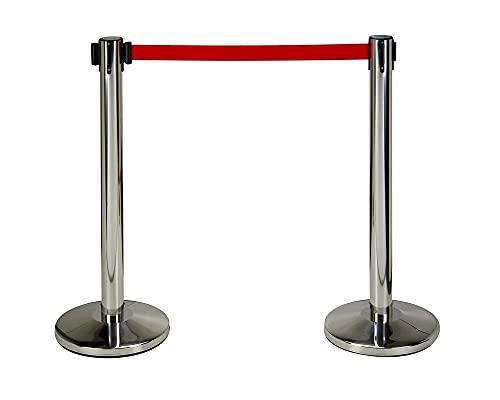 2 postes separadores acero inox con cinta extensible roja de 3 metros