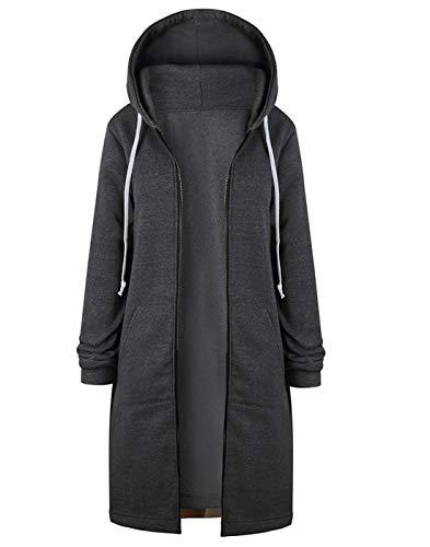 Hifanmall Damen Strickjacke Casual Mantel Hoodie Zipper Hoodies Sweatjacke Langer Manteljacke Oversized Coat Outwear Kapuzenpullover, Dark Grau, 36,S