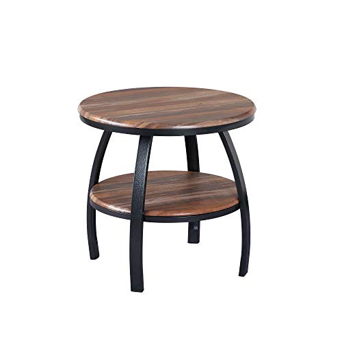 Artum Hill Yohanis Round End Table in Fresh Brew with Round Table Top, Metal...