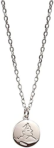 TTDAltd Collar Collar De Plata 925 con Cabeza Humana De Dibujos Animados, Collar De Moneda De Plata Abstracta con Cadena De Clavícula Personalizada para Regalos De Fiesta Femenina