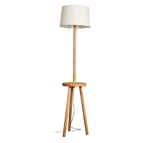 ZGYQGOO - Lámpara de pie de madera con tres pies y escritorio de madera, estilo nórdico, para salón, dormitorio, oficina, vertical, lámpara de mesa grande, pantalla de tela de lino