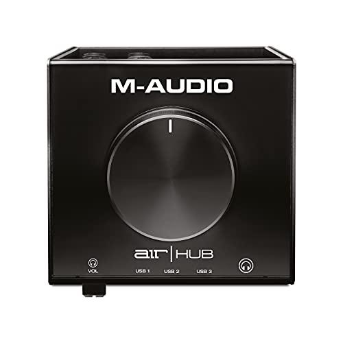 M-Audio AIR HUB - Interfaz de monitorización de audio / tarjeta de sonido USB / USB-C con concentrador de 3 puertos, software, ProTools First, Eleven Lite, efectos de Avid y Xpand!2 de AIR MusicTech