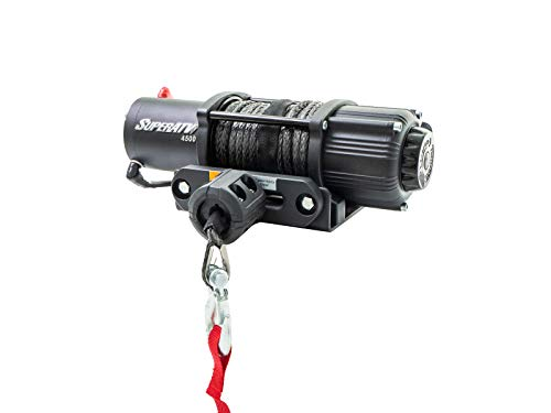 SuperATV ATV and UTV Winch Kit: 4500 Lb. Black Ops Winch with 50 Ft Synthetic Rope, Wireless Remote, and Aluminum Fairlead - 12V Electric Motor with 4500Lbs Rated Line Pull and Automatic Shut Off