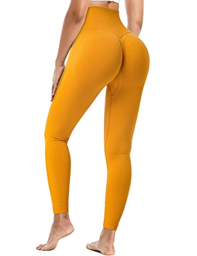 Fulbelle High Waisted Pants for Women,Autumn Winter Butt Lifting Tummy Control Anti Cellulite Leggings Elastic Seamless Gym Stretchy Elastic Booty Scrunch Tights Orange S