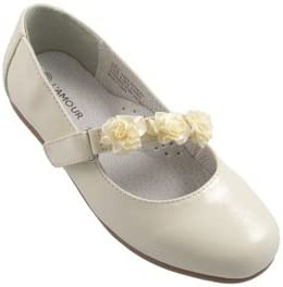 L'Amour Toddlers & Kids Flower Dress Shoes Ballerina Flats Patent Ivory