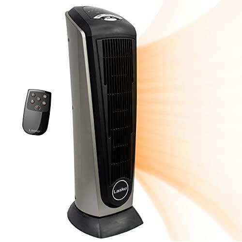 Lasko Ceramic Tower Heater with Remote Control - Calefactor Black, Silver