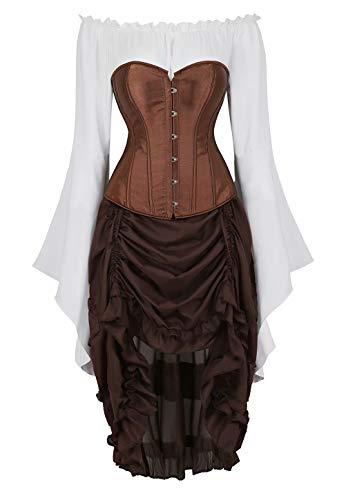 Corset Bustier Sexy Mujer Disfraz Vestir Elegantes 3 Piezas Top Falda Vestidos Medieval Traje Negro