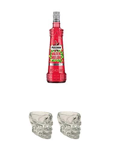 Puschkin Watermelon 0,7 Liter + Wodka Totenkopf aus Glas 1 Stück 29 ml + Wodka Totenkopf aus Glas 1 Stück 29 ml