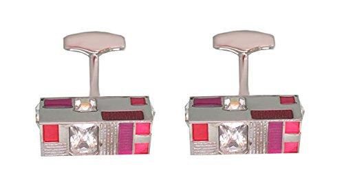 Manschettenknöpfe helle Kristallsteine Lack in Rot Pink Tönen plus Silberbox