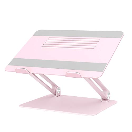 BoYata Laptop Stand, Multi-Angle Laptop Riser with Heat-Vent, Adjustable Notebook Stand Compatible for Laptop (11-17 inches) including MacBook Pro/Air, Lenovo, Samsung, HP (Pink)