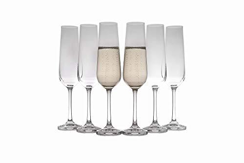 Copas de champán de cristal (juego de 6), elegante y transparente, para champán,...