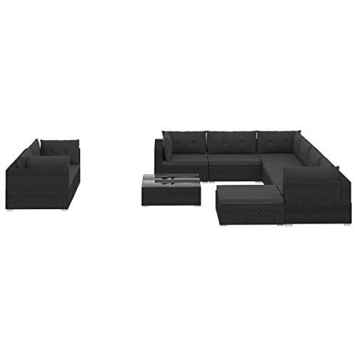 vidaXL Mobilier de Jardin 10 pcs avec Coussins Canapé de Jardin Sofa de Patio Salon de Jardin Meuble d'Extérieur Terrasse Résine Tressée Noir