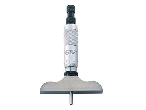 Starrett 440MZ-75RL - Micrómetro de profundidad (alcance 0-75mm, base 63,5 mm, 3 medidas de ajuste, trinquete, tuerca de fijación en forma de anillo)