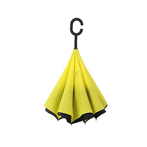 Parapluie inversé avec poignée en C. Parapluie à manche inversé - Parasol à double couche. Coupe-vent - Résistant au vent et aux UV - Protège de la pluie, de la tempête et du soleil - Jaune