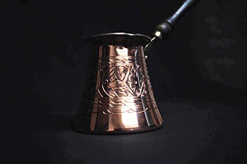 *NEU* Dickste massive gehämmerte Kupfer Türkisch Griechisch Arabische Kaffeekanne Herd Kaffeemaschine Cezve Ibrik Briki mit Holzgriff, dick 2 mm XL