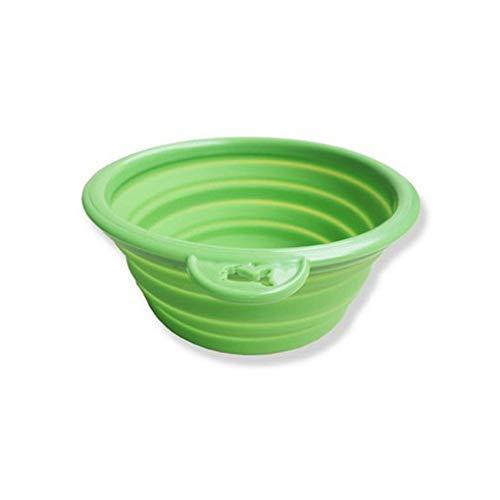 NINIWA Cuenco plegable de silicona para perros y gatos, platos de alimentación de viaje, cuenco plegable con agujero para colgar para exteriores, viajes, camping, senderismo (verde)