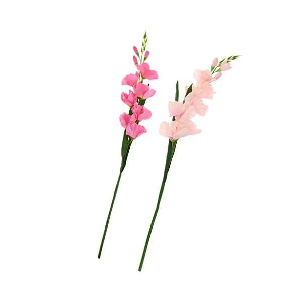 2 Unids / Set 80 Cm Flores Artificiales Largas Tallos De Gladiolo De Seda Para La Decoración De Flores