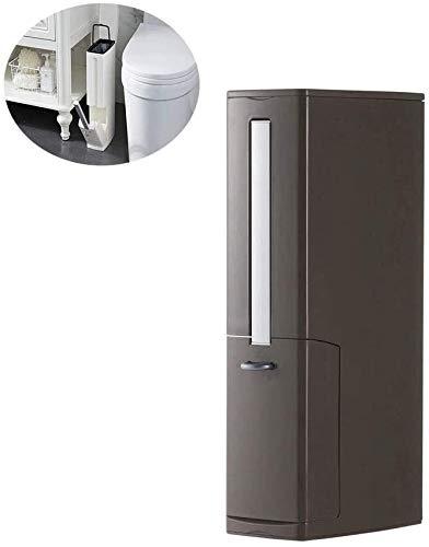 MISLD Vierkante vuilnisbak voor binnenshuis 3 in 1 met wc-borstel en houder voor afvalbakhouder met deksel voor badkamer WC