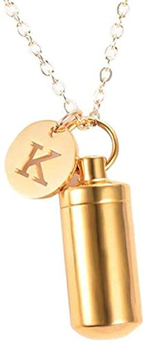qiangloushui Collar Urna De Cremación De Acero Inoxidable Cilindro De Cenizas Vial Colgante Collar Letra Inicial Encanto Joyería Conmemorativa