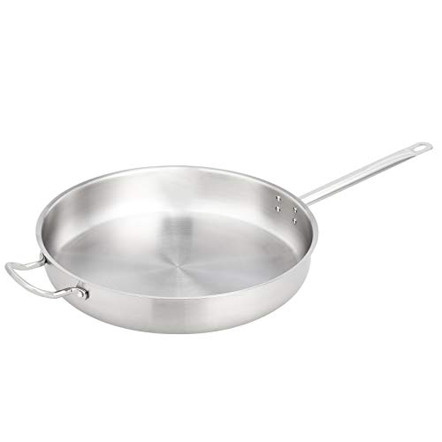 """AmazonCommercial 16"""" Stainless Steel Aluminum-Clad Fry Pan with Helper Handle"""