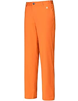 Lesmart Men s Golf Pants Stretch Slim Straigh Tech Performance Relaxed Fit Chino Pant Size 36Wx33L Orange