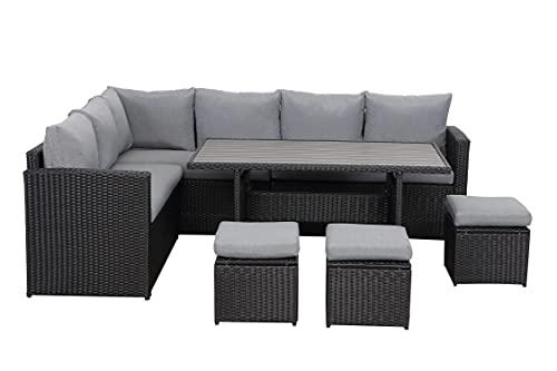 MeXo Juego de muebles de jardín de ratán para comer de 7 piezas, sofá para exteriores para 6-9 personas, con mesa y taburete, polirratán, incluye cojines, color negro y gris