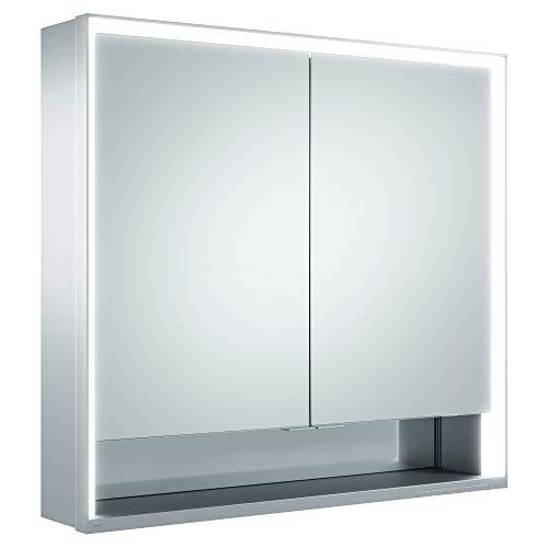 Keuco Spiegel-Schrank mit Variabler LED-Beleuchtung, Badezimmer-Spiegelschrank, mit Aluminium-Korpus, mit 2 Türen, 80x73,5x16,5 cm Royal Lumos