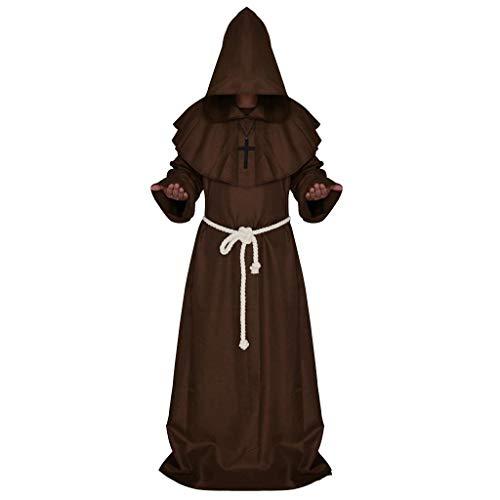 ZGNB Disfraz de Monje - Sacerdote - hbito con Capucha - fraile - Edad Media - Disfraces de Hombre - Halloween - Carnaval - Accesorios - Talla s - Idea de Regalo Original Cosplay
