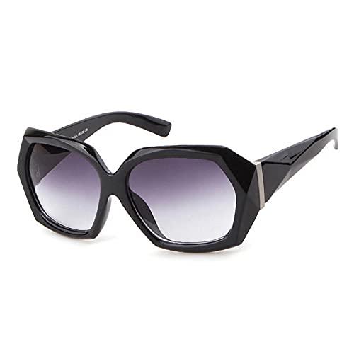 FENGHUAN Gafas de Sol de Cristal multicorte a la Moda para Mujer, Lente degradada Vintage, Gafas moradas Transparentes, Gafas de Sol para Conducir para Mujer, Negro Gris