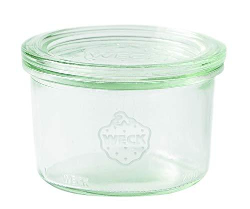 Weck 751Cristal Bormioli Fido 200ml (einweck de calidad, con Tapa de cristal para cocer Resistente al calor Microondas. Aptas para horno redonda cristal) 12unidades), transparente