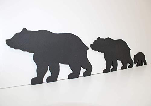 Black Bear Family of 3 - Bear Family Art - Bear Wall Art - Cut-Out Bear Wall Art - Bear Woodwork - Wooden Bear Silhouette - Animal Art