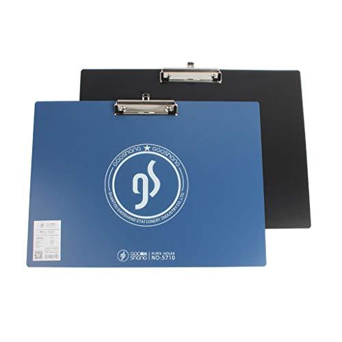 TXXM Portapapeles 2 tableros de escritura A3, tablero de dibujo de carpetas de papel con clip (color negro y azul)