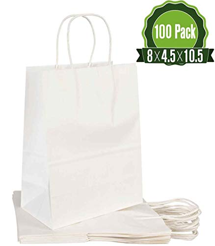 [8 X 4.5 X 10.5]-[100Pcs]-White Paper Gift Bags Bulk with Handles.Ideal for Shopping, Packaging, Retail, Party, Craft, Gifts, Wedding, Recycled, Business, Goody and Merchandise Bag (White, 100 Bags)
