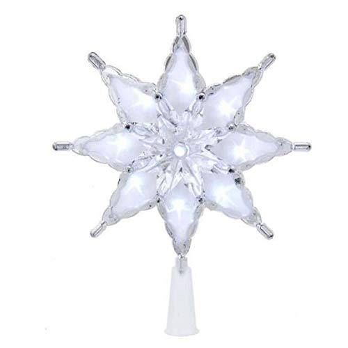 Kurt S. Adler Kurt Adler 8-Inch 8-Point Star Treetop with Cool White LED Lights Tree Topper, Multi