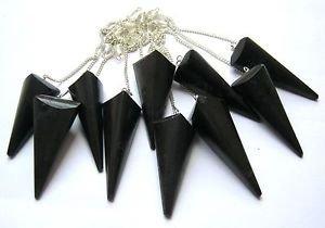 Potente dowser negro turmalina 3 péndulo facetado cristal curación reiki feng shui...
