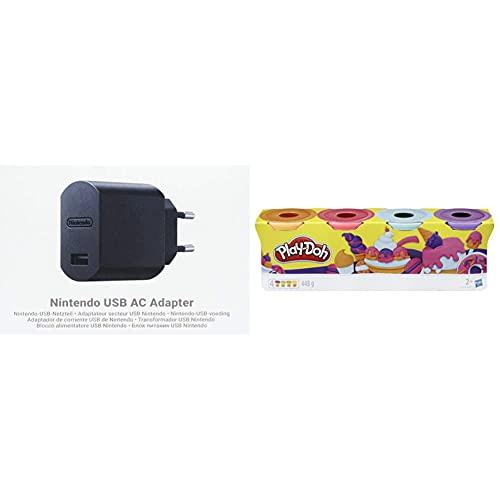 Nintendo USB AC Adapter & PlayDoh E4869ES0 4erPack Sweet, tolle Farben für Kinder ab 2 Jahren, 112gDosen (pink, hellblau, Hellorange, lila), Knete für fantasievolles und kreatives Spielen