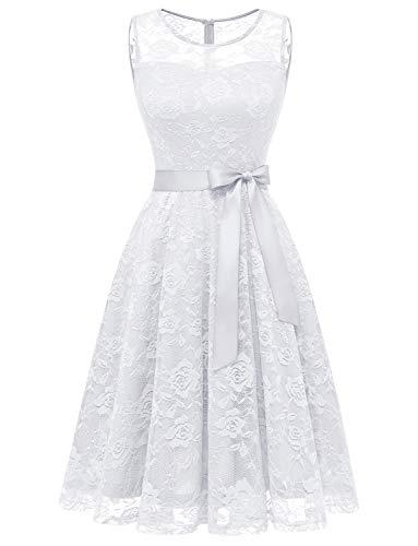 Aupuls AUP0009 Vestido De Encaje Sin Manga con Cinturón para Fiesta Dama De Honor Vestido De Baile Blanco XXL