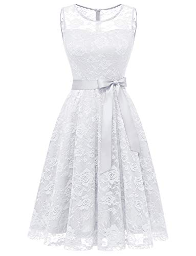 Dressystar DS0009 Abendkleid Ärmellos Kurz Brautjungfern Kleid Spitzen Rundhals Damen Kleider Weiß L