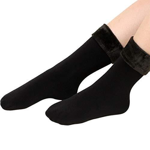 ECYC Frauen verdicken Thermal Wolle Cashmere Schnee Socken, Winter Wamer nahtlose samt Stiefel Boden Schlaf Socken, schwarz