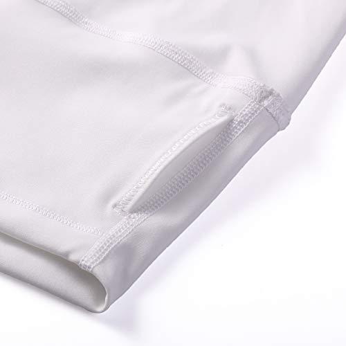 CRZ YOGA Donna Pantaloni a Vita Alta da Allenamento Leggins Sportivi con Tasche-63cm Bianco 42