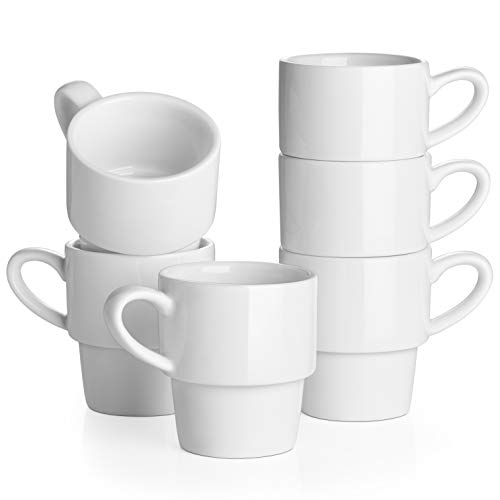 LIFVER Stackable Espresso Cups Set of 6, 3 Ounce Porcelain Demitasse Cups, Coffee Cups for Espresso, Americano, Latte, Cafe Mocha and Tea, White
