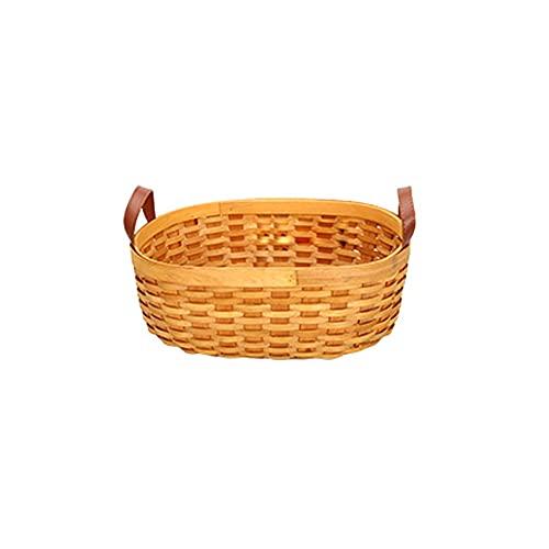 HEIYANQUANzwj Cestas Almacenaje Decorativas, Cestas de almacenamiento de madera, asas de leña de madera, cestas de almacenamiento hechas a mano rural, cestas de refrigerio de frutas de escritorio, Tam