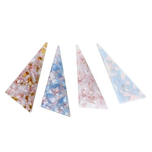 Haarklammern, dreieckig, Kunstharz, Bernstein-Haarnadeln, für Mädchen, Blau, Pink, Hellrosa, Hellblau, 4 Stück