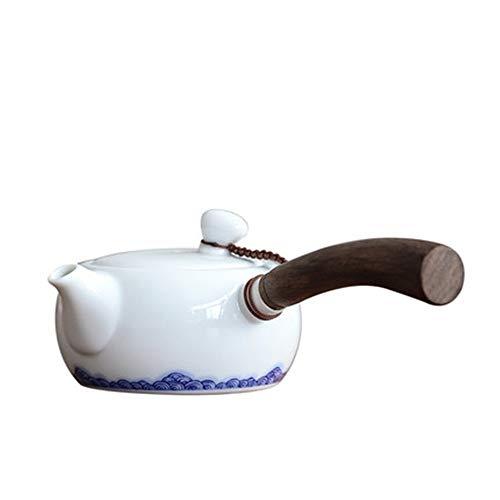 MxZas Steingut Teekanne Keramik Teekanne Weißes Porzellan Seitengriff Topf Haushalt Blau und Weiß Teekanne for Bulk-Tee und Teebeutel (Color : White, Size : 180ml)
