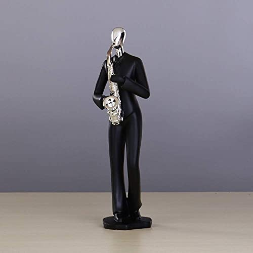 Estatuas Figuras Esculturas, Negro Resina de personajes modernos Música creativa Orquesta Artesanía Hogar Sala de estar Oficina Escritorio, Estantería, Sala de estar, Dormitorio, Colección Escultura