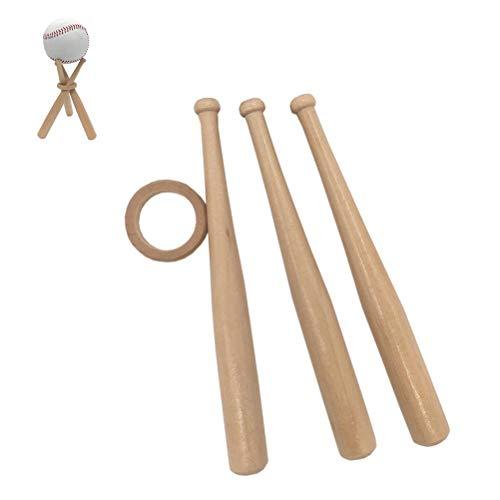 Baseballständer,Holz Mini Baseballschläger Form Platzierung Halterung Baseball Ständer Display Halter Rack Unterstützung Basis mit kreativen Ornamenten