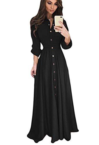JIER Damen Langarm Knopf Maxikleid Elegant Vintage 1950er Boho Lang Maxi Kleid Kleider Abendkleider Ballkleid Solid Casual Partykleid mit Taschen Gürtel (Schwarz,XX-Large)