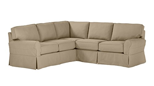 Stone & Beam Carrigan Modern Sectional Sofa Couch with Slipcover, 103'W, Grey Taupe