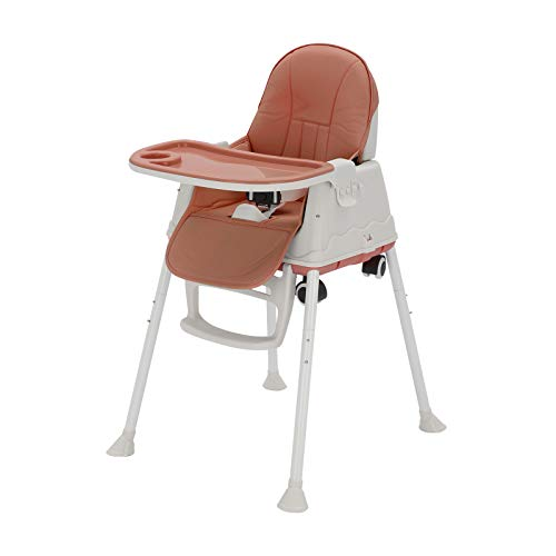 MorNon Baby High Chair 3 in 1 Portable Highchair Dining Table Chair Height-Adjustable Chair Foldable Baby Chair with Tray Wheels, Coffee