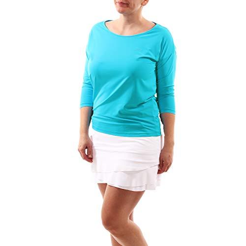 Sportkind Mädchen & Damen Tennis, Fitness, Sport 3/4 Langarm Shirt Loose Fit, atmungsaktiv, UV-Schutz UPF 50+, türkis, Gr. XXXL